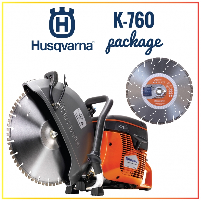 Husqvarna K-760 14� Gas Hand-Held Concrete Saw Package