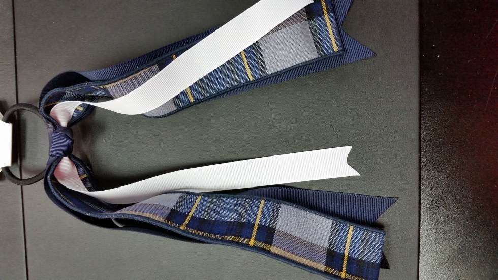 Navy & Gold Plaid Streamer