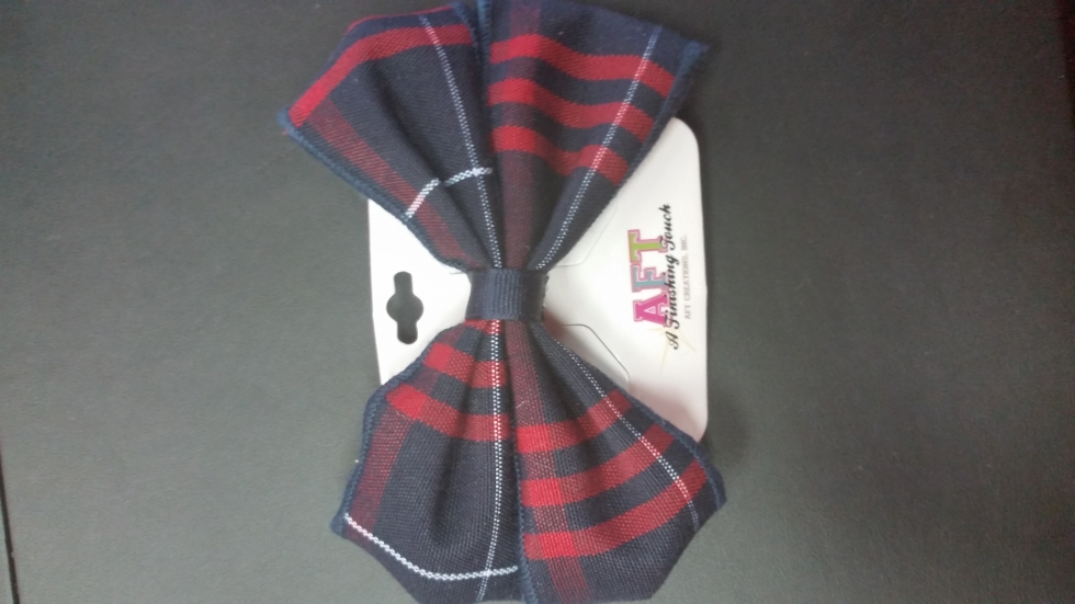 Navy & Red Plaid Bow