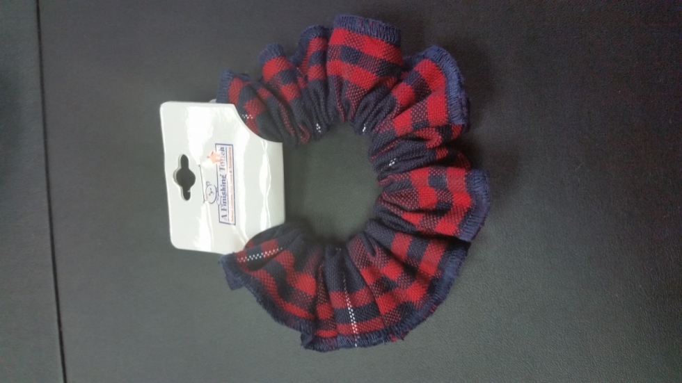 Red & Navy Plaid Scrunchie