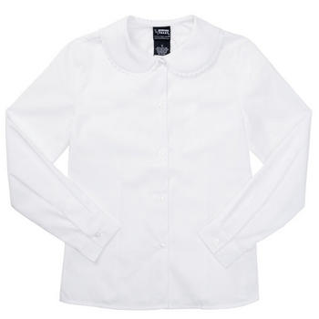 Girl Long Sleeve White Peter Pan Blouse