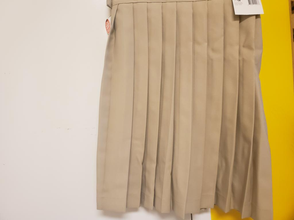 Khaki Long Pleated Skirt