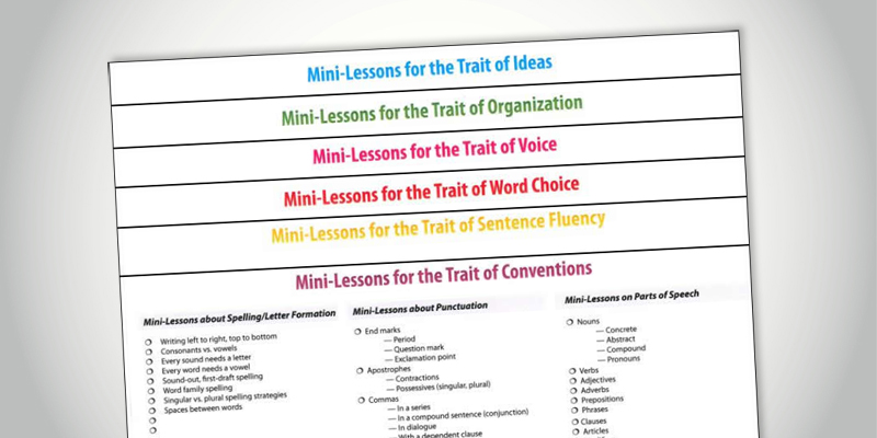 6 trait writing mini lessons Writing using the 6 traits of writing convention resources  mini- lessons in sentence fluency  mini-lessons to consider word choice.