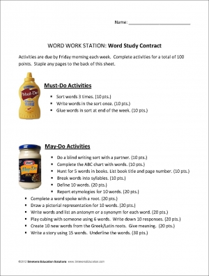 Reading Block Word-Work Station Contract