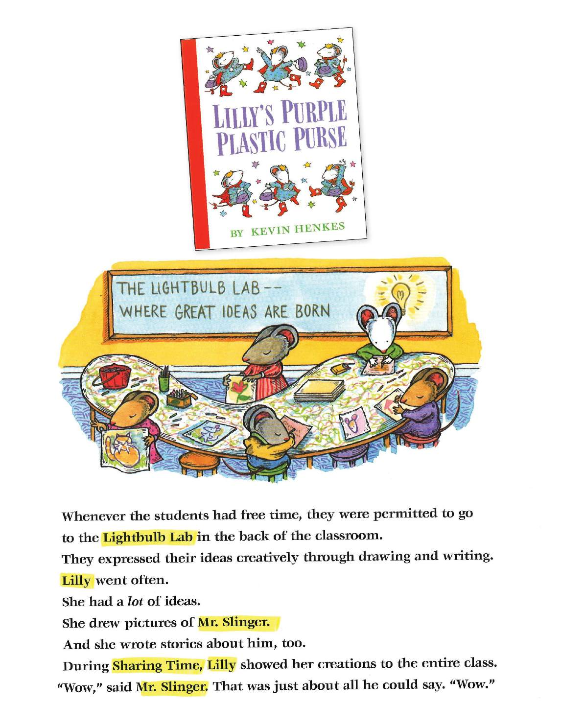 Mentor Text Example Lilly's Purple Plastic Purse
