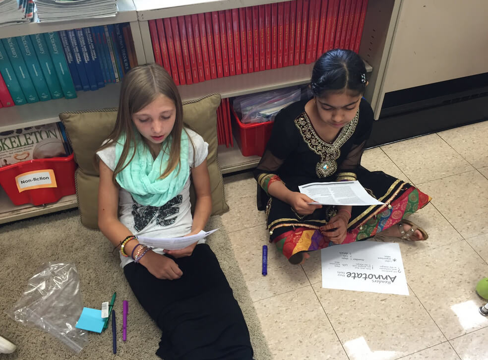 Students work in pairs to read and annotate