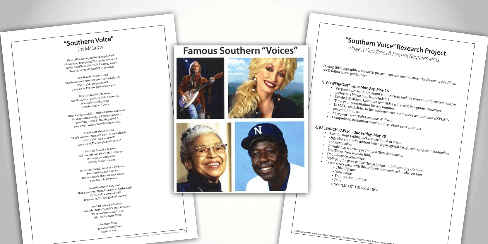 Song Lyrics Provide the Subjects for a Biography Research Unit