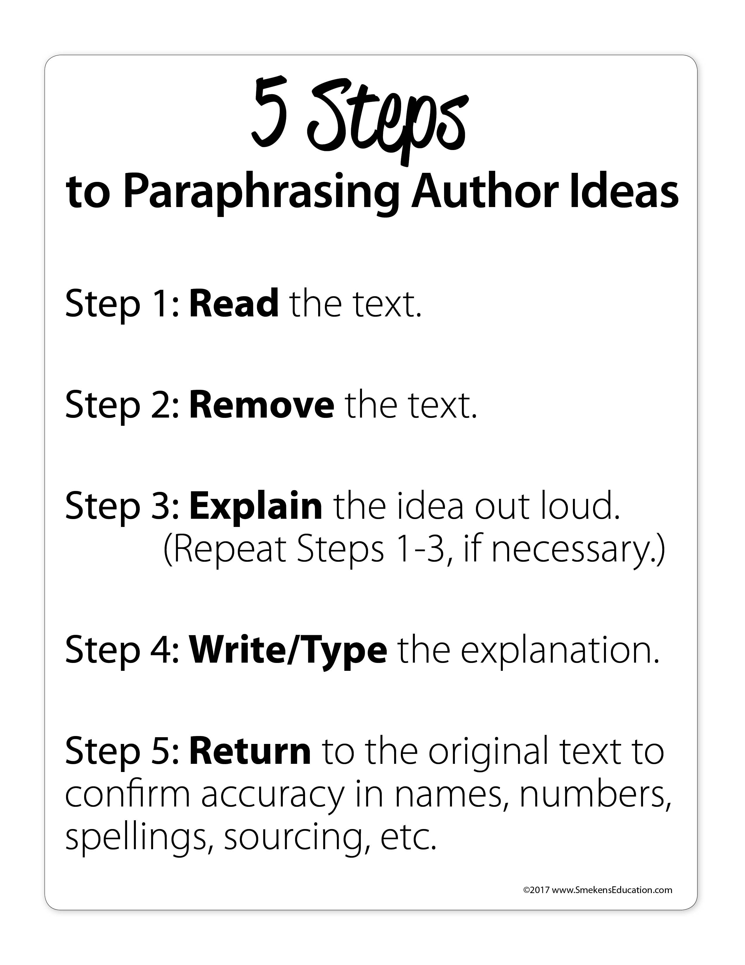 5 Steps to Paraphrasing Author Ideas