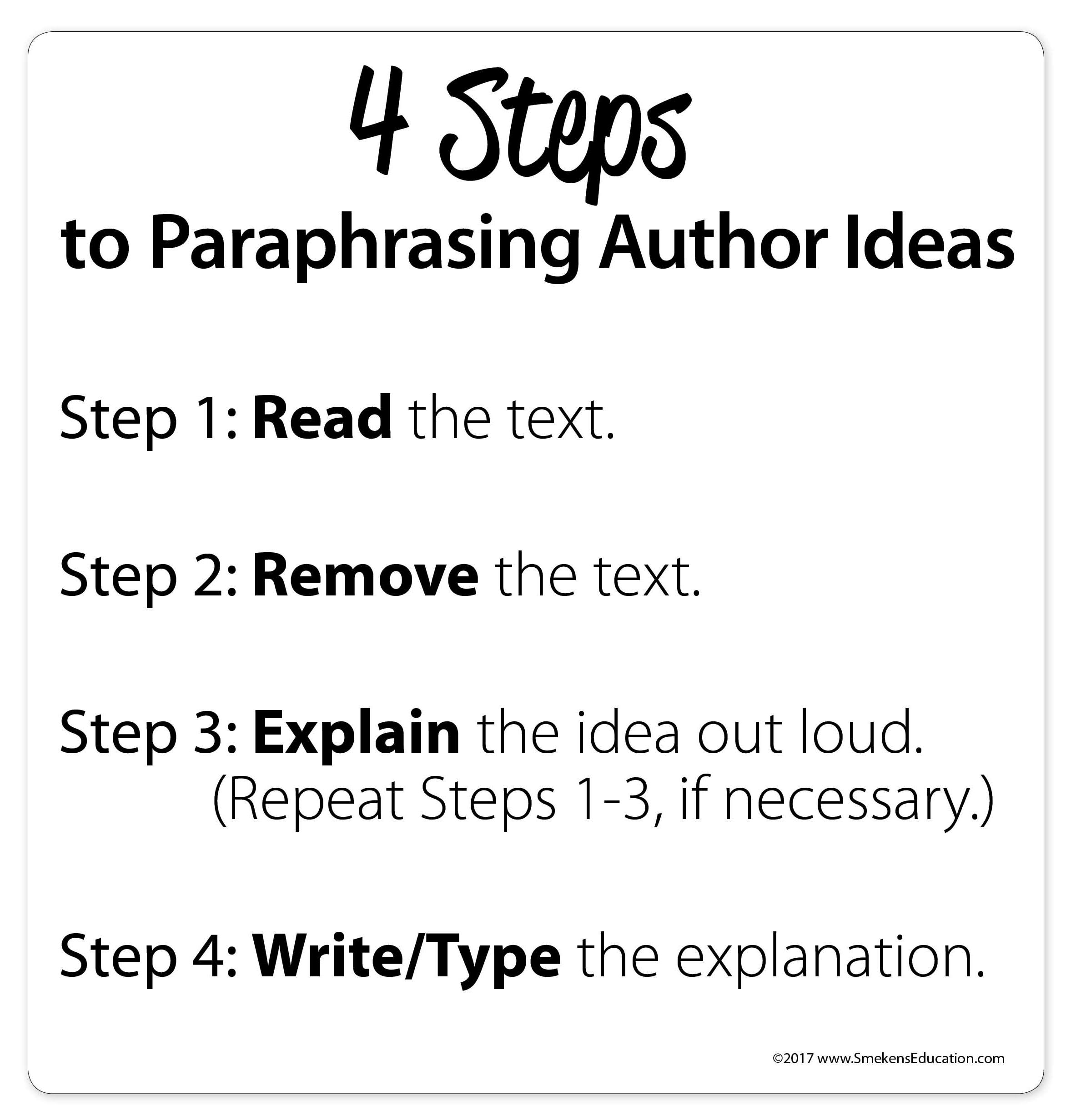 4 Steps to Paraphrasing Author Ideas