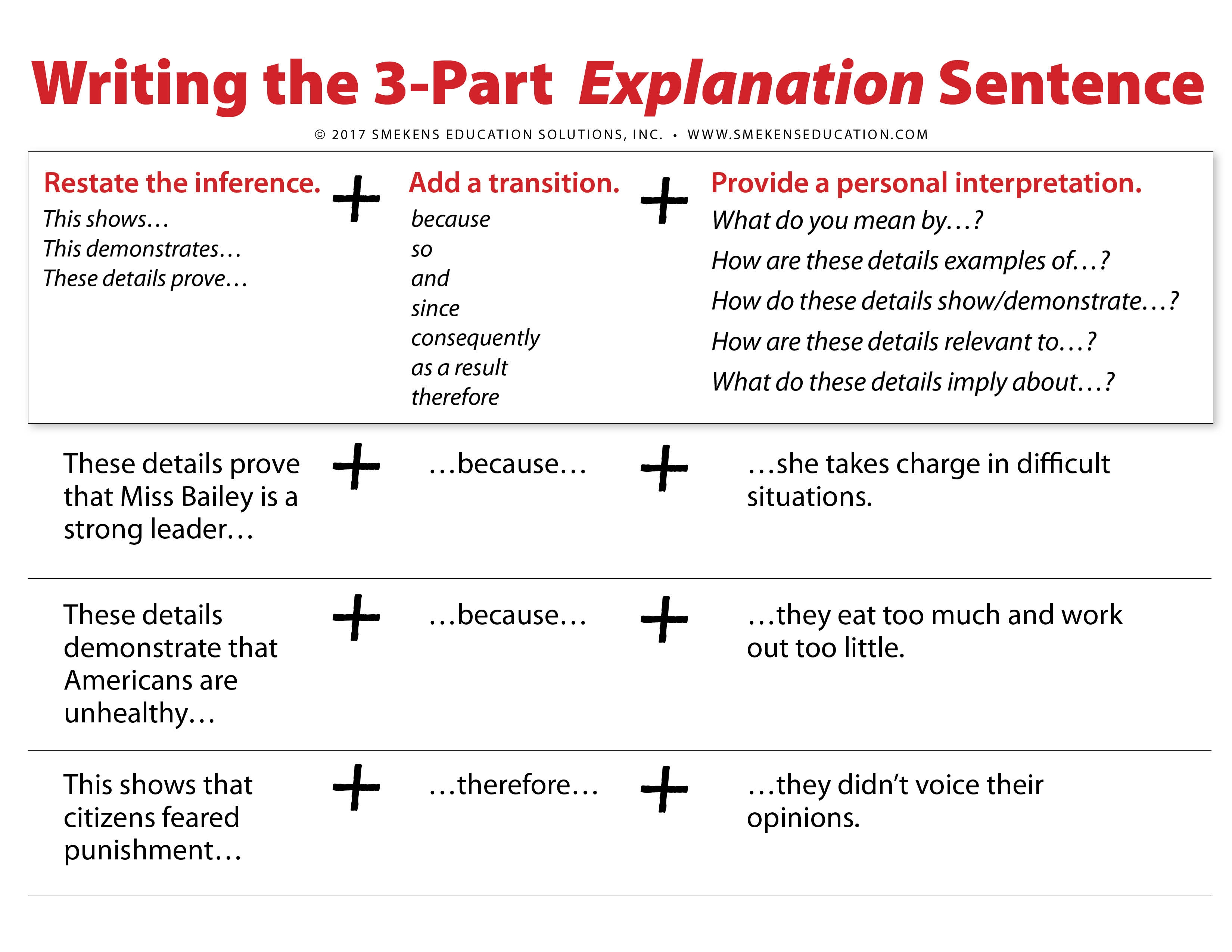 Write the 3-Part Explanation Sentence for Standardized Assessments