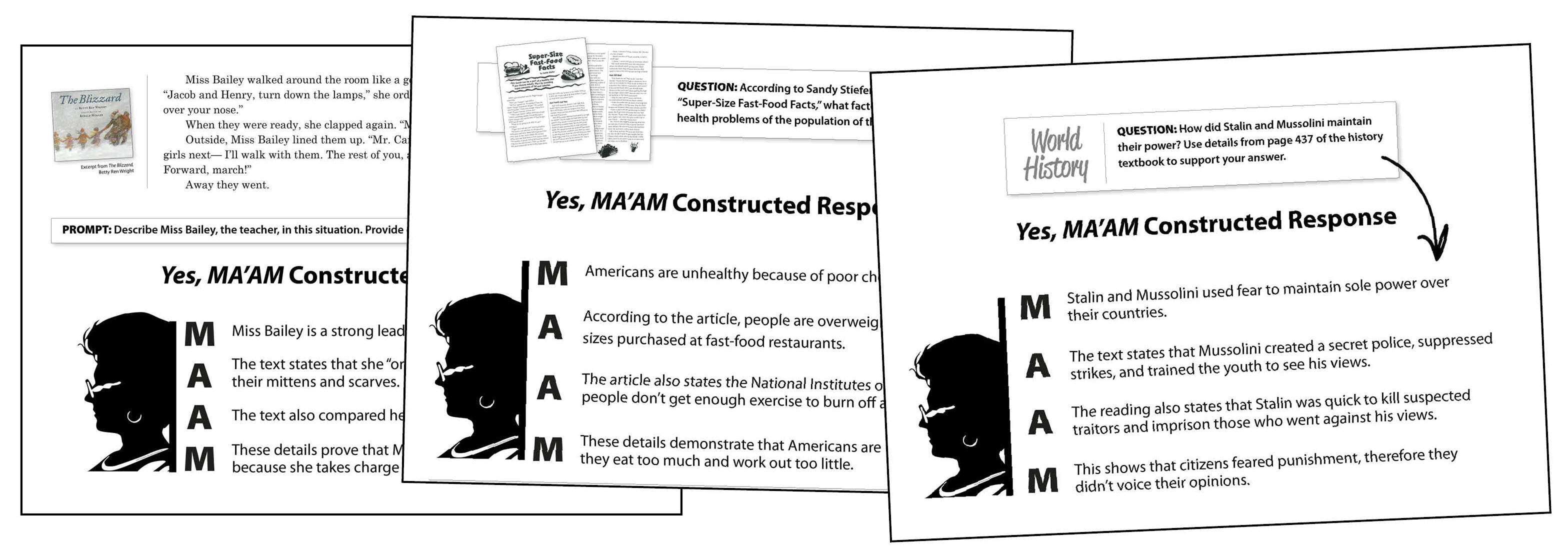 Use Yes MA'AM for Constructed Response Writing