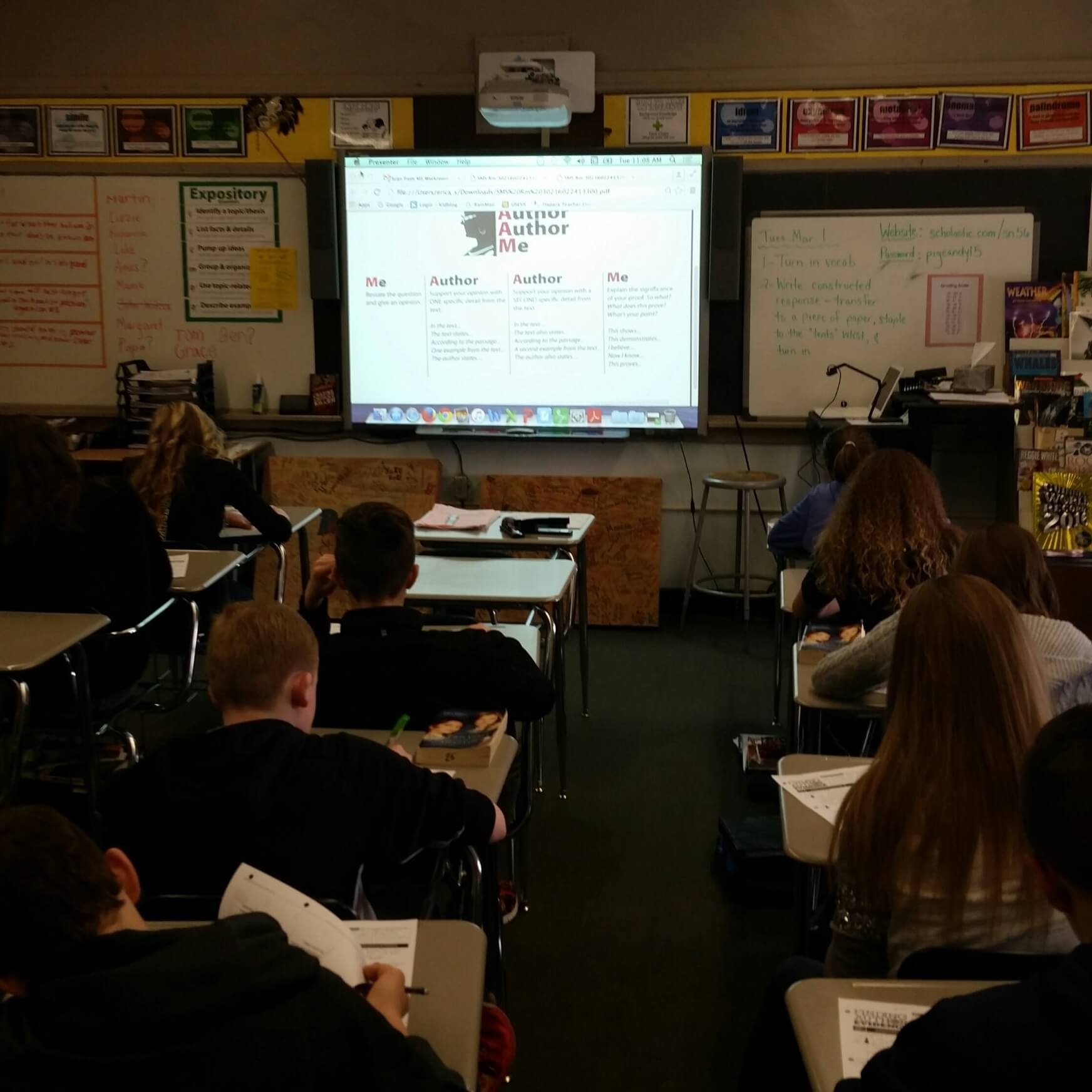 8th Grade Erica Shadley's Class using Finding Evidence handout