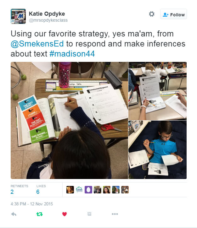 Katie Opdyke's Twitter feed--with her students using the Yes MA'AM template