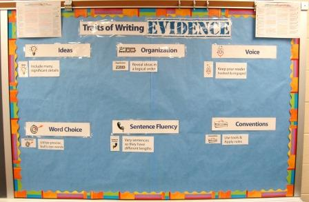 6 Traits of Writing--Traits of Writing Evidence bulletin board