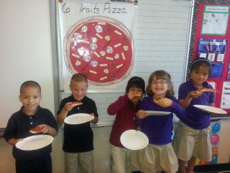 6 Traits of Writing pizza party celebration