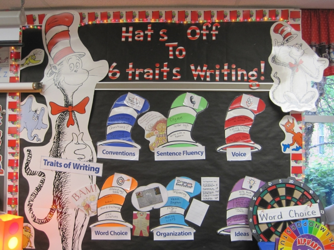 Hats Off to 6 Traits of Writing bulletin board