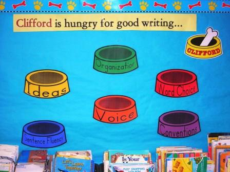 6 Traits of Writing--Clifford bulletin board