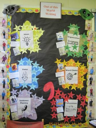 6 Traits of Writing--Out of This World bulletin board with star skills