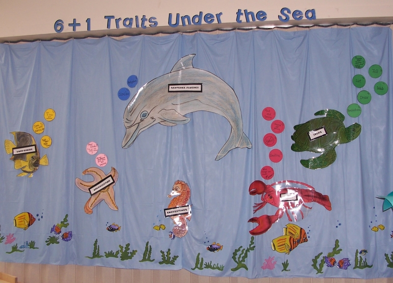 6 Traits of  Writing--Under the Sea Bulletin Board