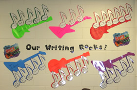 6 Traits of Writing--Our Writing Rocks bulletin board