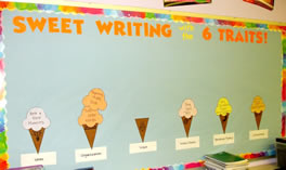 6 Traits of Writing--Ice Cream Cone bulletin board