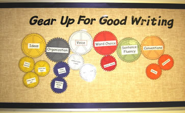 6 Traits of Writing--Gear up for Good Writing bulletin board