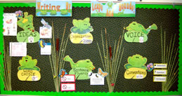 6 Traits of Writing Leapfrog bulletin board