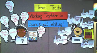 6 Traits of Writing--Team Traits bulletin board: Score great writing!