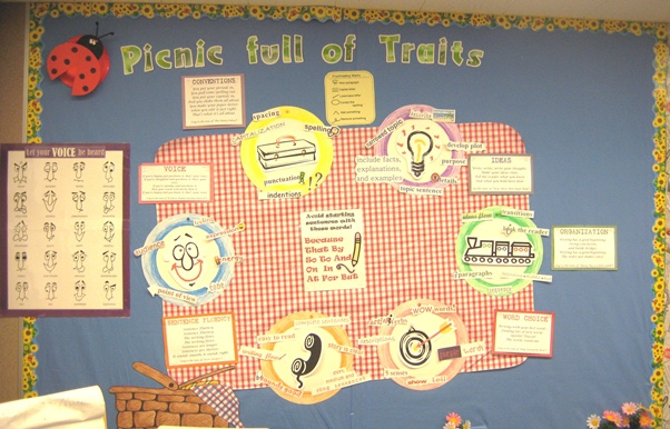 6 Traits of Writing Picnic bulletin board