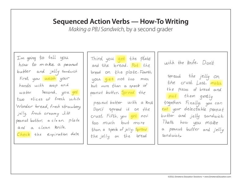 Sequenced Action Verbs--How-To Writing--Student Sample