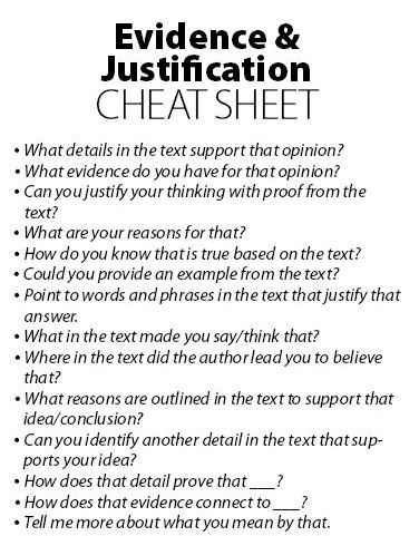 Evidence & Justification Cheat Sheet