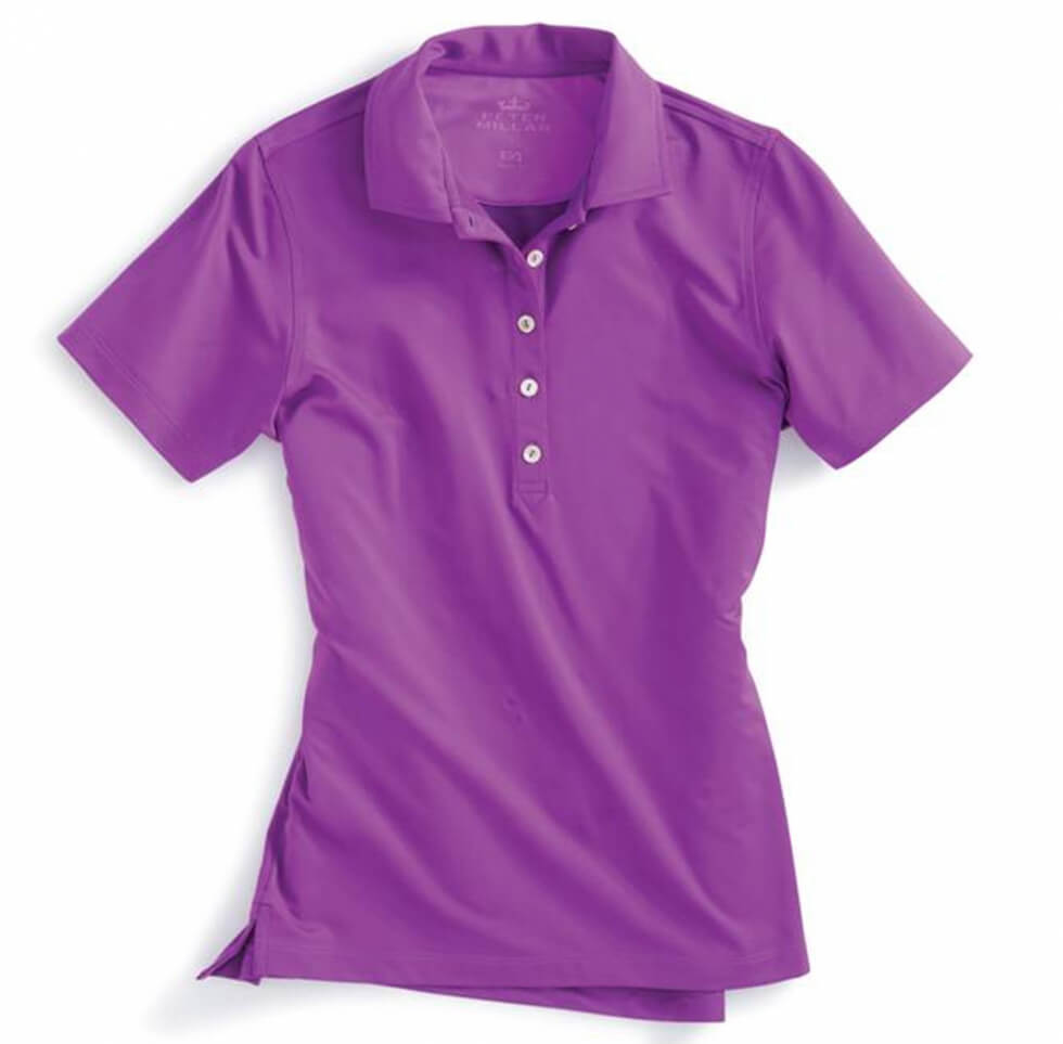 Short Sleeve Jersey Button Polo - Hibiscus