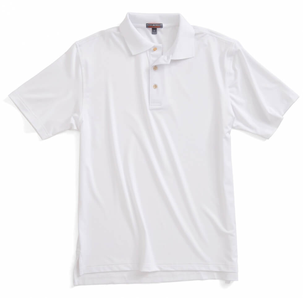 Solid Stretch Jersey Golf Shirt - White