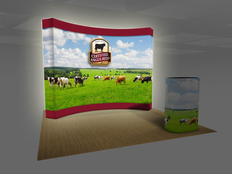 Backlit Vburst 10ft Curved PopUp