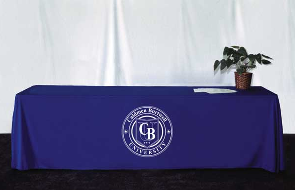 6' table skirt w/ one color logo - thompson kerr displays