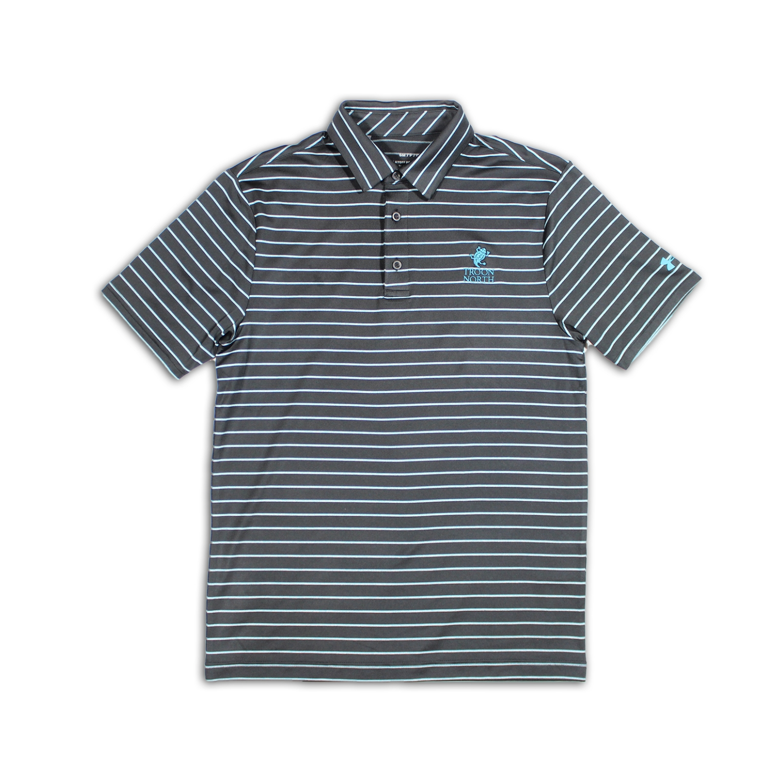 Under Armour Tour Stripe Black & Escape Blue Polo