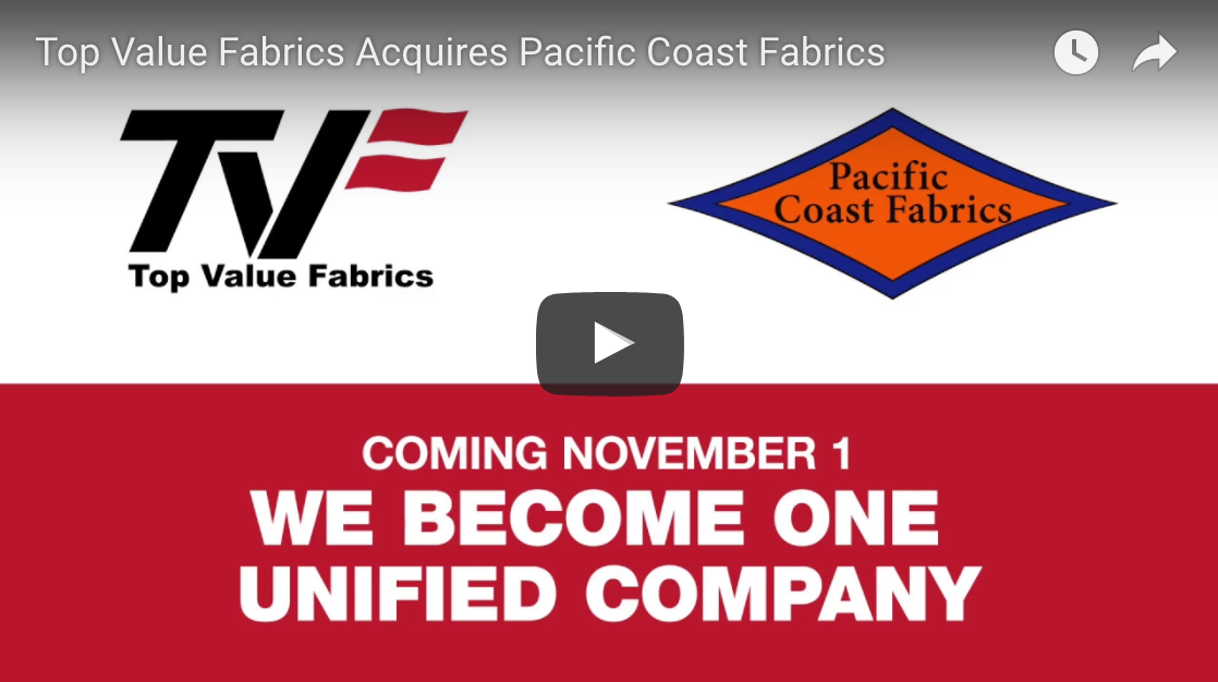 TVF Acquires Pacific Coast Fabrics!