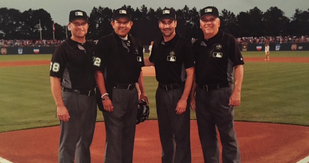 Photo Caption:  (from l-r)  Major League Umpires Chris Guccione, Alfonso Marquez, David Rackley and Crew Chief Larry Vanover worked the first game in Fort Bragg history over the Independence Day weekend.