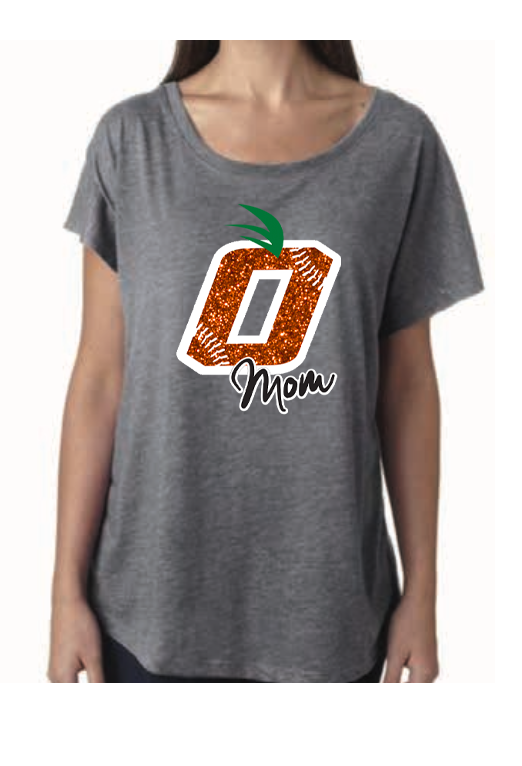 Orange Baseball Mom (Glitter / Bling) Dolman Sleeve Tee by Jeeb Design (2 Color Choices)