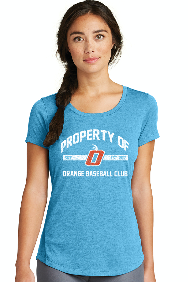 Orange Property Of (Distressed) New Era Womens Performance Crew Tee (2 Color Choices)