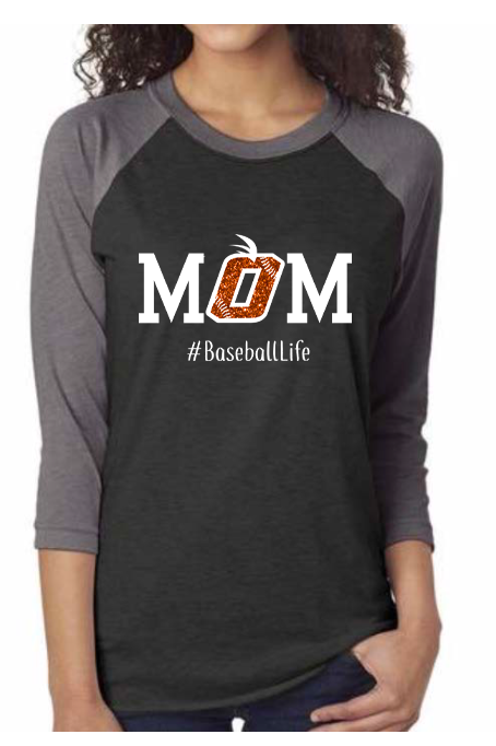 Orange Mom Baseball Life Raglan (Glitter / Bling) by Jeeb Design (3 Color Choices)