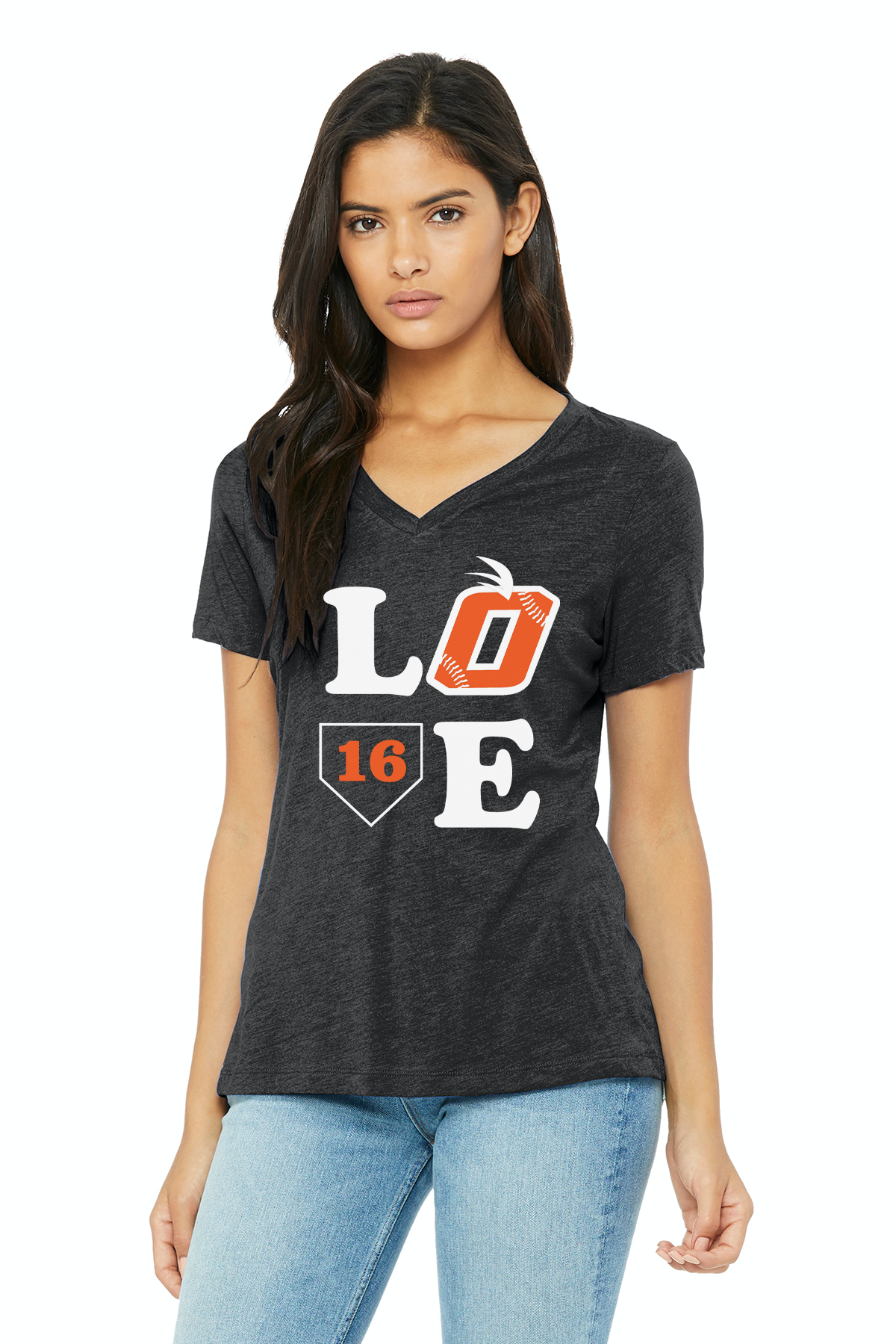 Orange LOVE Bella Canvas Womens Jersey V-Neck Tee (Charcoal-Black Triblend)
