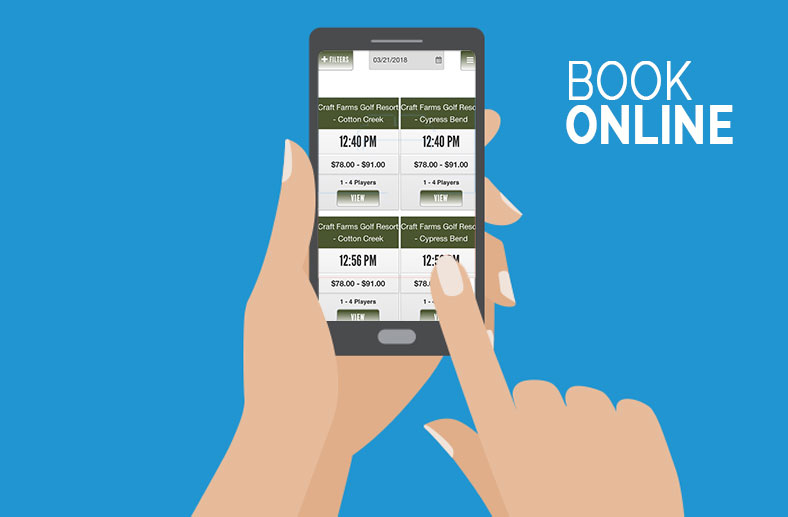 Book online - hands holding a phone