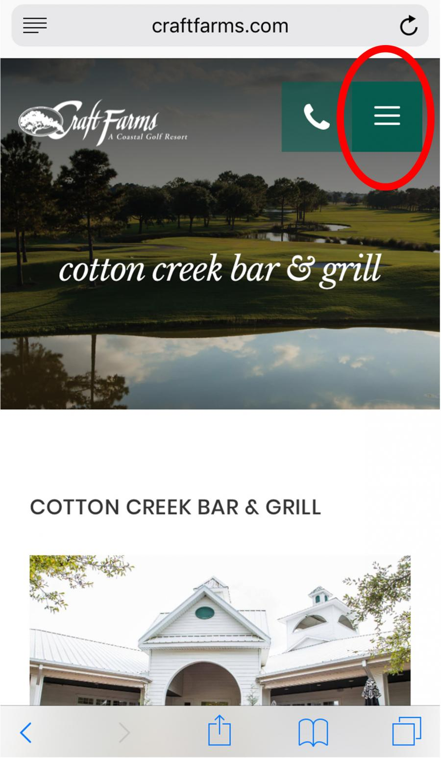 screenshot of Craft Farms mobile website