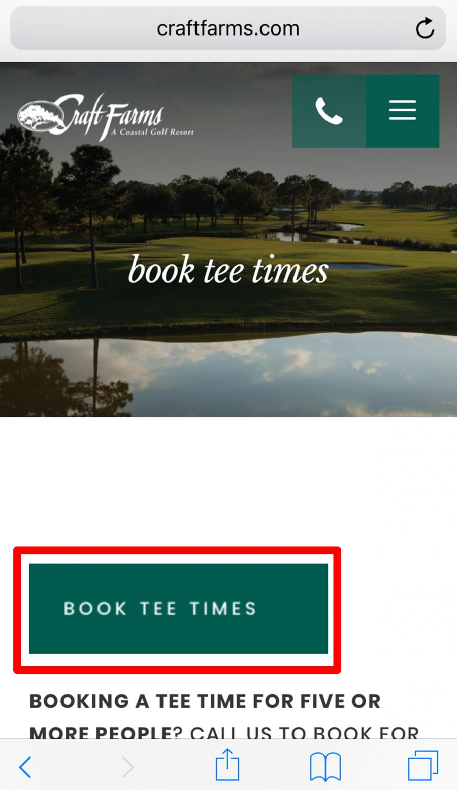 image showing where book tee times link is