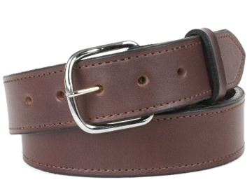 Money Belt-Silver End Bar Buckle-Chocolate Brown