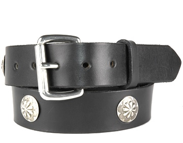 Concho Belt-Silver Roller Buckle-Black