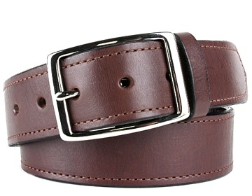 Money Belt-Silver Rectangle Buckle-Chocolate Brown
