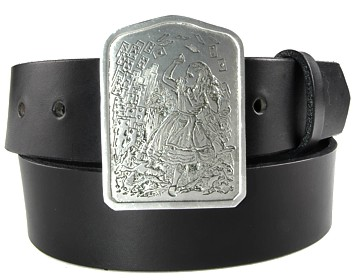 Plain Belt-Alice with Cards Buckle-Black