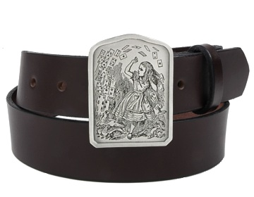 Plain  Belt-Alice with Cards Buckle-Chocolate Brown